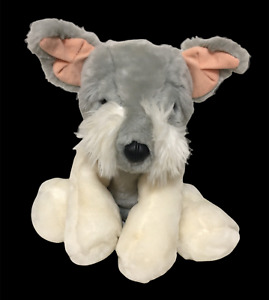 """Animal Alley Schnauzer Jack Russell Terrier Dog White Gray Plush Toys R Us 9"""""""