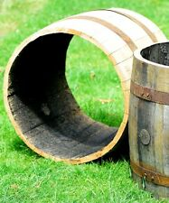 Rustic Solid Oak Whisky Barrel Open Ended Planters for Gardens | Patio's