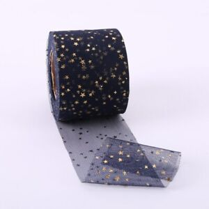 DIY 5Yards Organza Ribbon Bronzing Stars Decoration Wedding Craft Sewing Ribbon