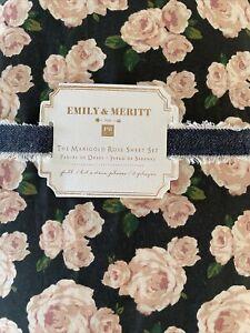Pottery Barn Teen Marigold Rose Sheet Set Black Blush Full Emily Merritt 4 Pcs