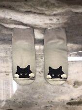 Gray And Black Cat Socks - Medium - USA SHIPPING