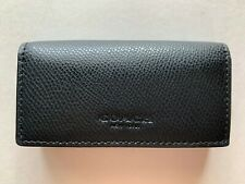 NWT Coach 4-Ring Key Case Crossgrain Leather F63414 Black