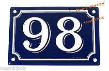 Plaque émaillée bleu et blanc NUMERO de RUE 98 émail enamel plate street number