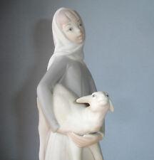 Lladro Girl with Lamb Sheep Figurine Unglazed Matte Finish Hand Made 14584 Rare!