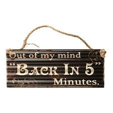 Sur Mon Mind Retour en 5 Minutes Signal Métallique - Plaque - Bureau - Maison