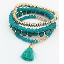 Fashion Multilayer Beaded Tassel Elastic Charm Bracelets Jewelry for Woman Girl