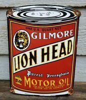 VINTAGE OLD GILMORE LION HEAD MOTOR OIL CAN PORCELAIN DEALER ADVERTISING SIGN