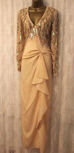 Virgos Lounge Cara Long Sleeve V Neck Embellished Drape Maxi Party Dress 8 - 10