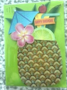 Papyrus Happy Birthday Card - Pineapple pina colada w/ Glitter & Flowers CHEERS!