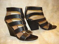 Women's L.A.M.B. by Gwen Stefani Caged Leather Black Sandals Size 8 M