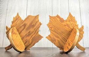 "Vintage Wood Maple Leaf Shaped Shelf Set Handmade 10.25""H x 7.25"""