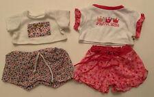 Build A Bear Girl 4 Piece Shorts T-shirts Lot Pink Princess Flowers