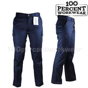 Ladies Womens UK Pro Trade Work Trousers Cargo Pockets Combat Pants Black Navy