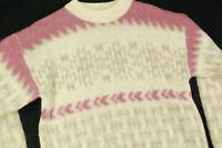 Vintage EVA Wool Nordic Fair isle Fisherman Sweater Pink Womens S Hipster Cute
