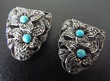 Pair of Vintage ART DECO Sterling Silver Marcasite Turquoise Floral Dress Clips