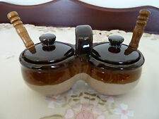5 Piece Rockingham Condiment Set Brown Stoneware w/spoons Vintage Containers