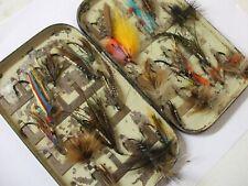 Vintage original Malloch Salmon Fly box + Single iron Salmon Flies.
