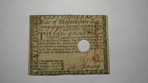 $20 1780 Massachusetts Bay MA Colonial Currency Bank Note Bill May 5, 1780 FINE+