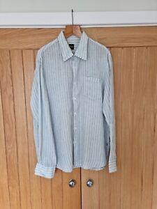 Hugo Boss  long sleeve smart stripped linen summer shirt light thin