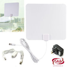 Digital Indoor 1080P HDTV TV Flat Antenna High Gain Amplifer & Adapter 50 Miles