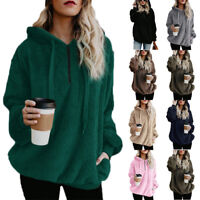 Womens Plus Size Tunic Hoodie Pullover Jumper Sweater Fluffy Fleece Coat Jacket