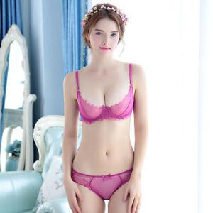 Women Lace See Through Unlined Bra Set Underwire Ultra-thin Sexy Underwear