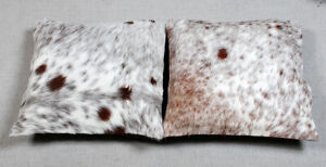 100% NEW COWHIDE LEATHER CUSHION COVER RUG COW HIDE (2 CUSHION COVER) WWL-18