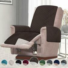 Microfiber Recliner Quilted Reversible Chair Arm Cover ProtectorChoco/Beige Xmas