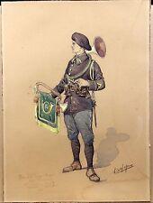 Grande Aquarelle de Soldat 33e corps d'armée - 47e Division Trèves 1927 Signé