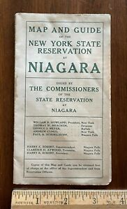 Vintage 1915 New York State Reservation at Niagara Map Falls River Rock of Ages