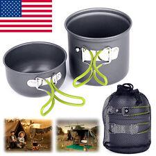 Camping Hiking Picnic Cookware Cook Cooking Pot Bowl Set Aluminum Outdoor NS