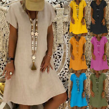 UK Women Cotton Linen Tops V-neck Ladies Summer Baggy Shirt Dress Plus Size 6-24