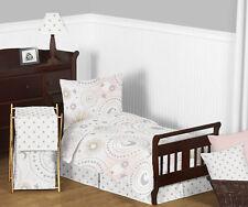 Sweet Jojo Celestial Moon Stars Pink Gold Grey Girls Toddler Bedding Sheet Set