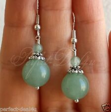 Earrings 925 Sterling Silver hooks Light Green Aventurine round dangle Gemstone