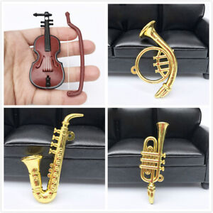 1Pc Miniature Musical Instrument Horn Violin Saxophone Toy Dollhouse Accessories