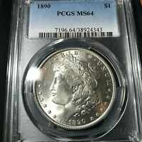 1890 MORGAN SILVER DOLLAR PCGS MS64 STUNNING COIN