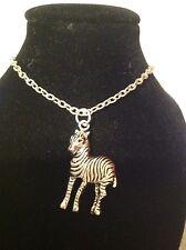 zebra necklace silver plated