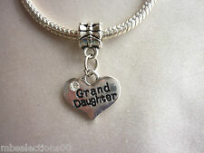 1 x Grand Daughter Family Heart Pendant Charm with rhinestones suit Bracelet DIY