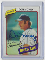 1980 BREWERS Don Money signed card Topps #595 AUTO Autographed Milwaukee