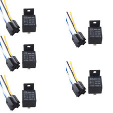 Lot5 Black 12V 40A SPST Premium Relay & Socket 4Pin 4P 4 Wire For Car Auto