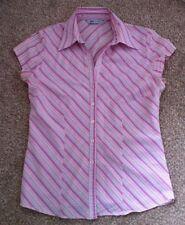 Stripey Pink Shirt Top Buttons Size 10 8 MK One Summer