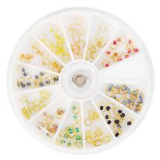 120pcs/Box Pearl Gold Nail Art Dangle Ring Beads Manicure Decor in Wheel Tips