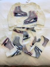 Baby Gap Girls Winter Ice Skates Shirt Leggings Outfit Pink Blue 2T NWT $32