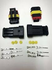 2 Kits 3 PIN Way Water Proof HEAVY DUTY Electrical Wire Connector Plug