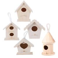 5pcs Wood Bird Nests Outdoor Hanging Stand Home Garden DIY Unfinished Birdhouse