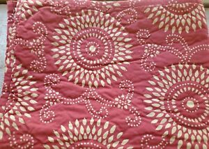 Pine Cone Hill Quilted Standard Pillow Shams Dark Red Maroon Gold Tan Set of TWO