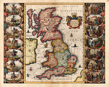 Historic Ancient Map BRITISH ISLES 17th century  A3 PRINTED on SPECIAL CANVAS