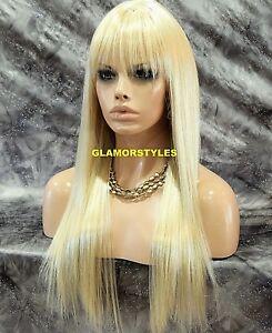 Human Hair Blend Full Wig Long Layered With Bangs Bleach Blonde Heat OK #613 NWT