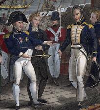 NAPOLEON BONAPARTE 1817 color engraving Surrenders to Capt MAITLAND Bellerophon