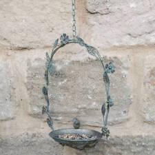 Brass hanging butterfly metal bird feeder dish (Gold/Green aged effect) Ascalon